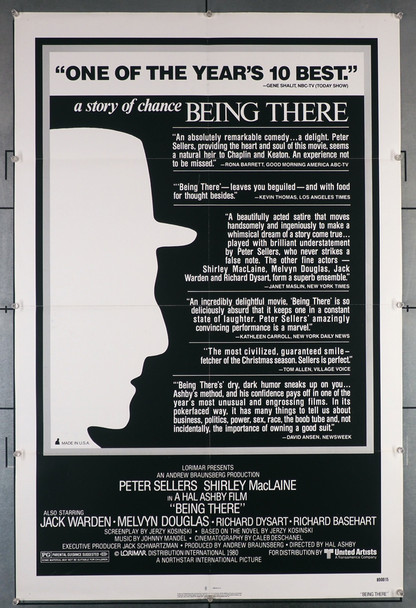 BEING THERE (1979) 29133   Peter Sellers  Hal Ashby Movie Poster Original U.S. One-Sheet Poster (27x41)  Folded  Review Sheet  Fine Plus Condition