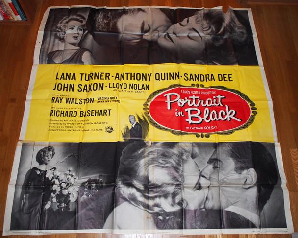 PORTRAIT IN BLACK (1960) 10765  Lana Turner  Anthony Quinn  Sandra Dee  John Saxon  Six Sheet Poster Original U.S. Six-Sheet in Theater-Used Average Condition  Folded