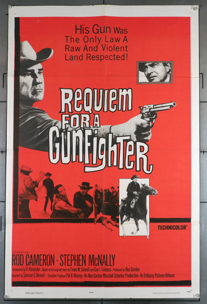 REQUIEM FOR A GUNFIGHTER (1965) 11191   Rod Cameron Movie Poster Original U.S. One-Sheet Poster (27x41)  Folded  Very Good Plus to Fine Condition