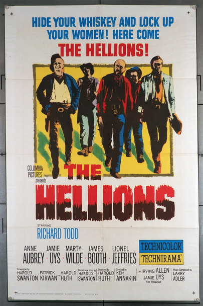 HELLIONS, THE (1961) 11193   Richard Todd  Jamie Uys  Marty Wilde  James Booth  Movie Poster Original U.S. One-Sheet Poster (27x41) Folded  Fine Condition