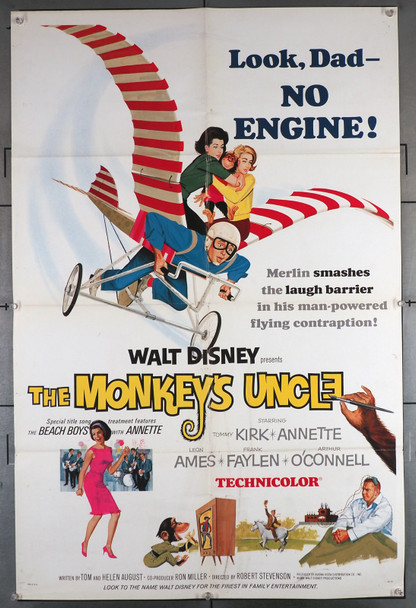 MONKEY'S UNCLE, THE (1965) 11082  Annette Funicello Movie Poster Original U.S. One-Sheet Poster (27x41)  Folded  Fine Plus Condition