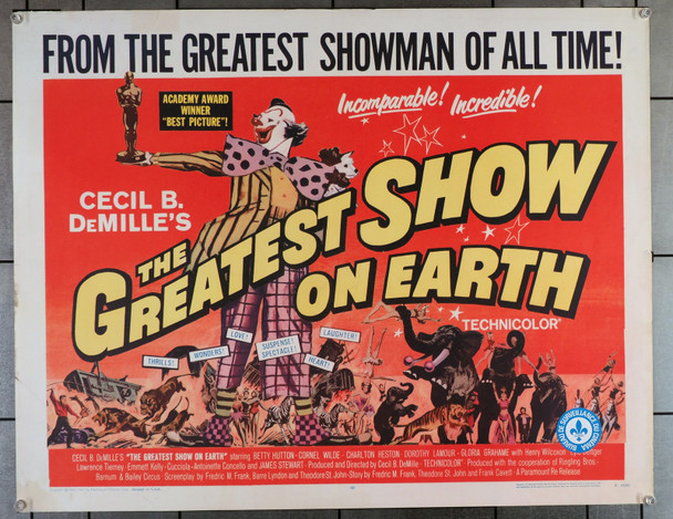 GREATEST SHOW ON EARTH, THE (1952) 29382  Cecil B. De Mille Best Picture Movie Poster Original U.S. Half-Sheet Poster (22x28) Re-release of 1967  Fine Plus Condition
