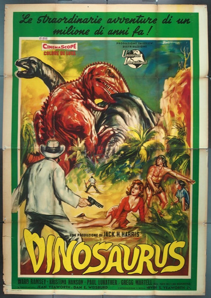 DINOSAURUS! (1960) 25542  Large Format Italian Sci-Fi Movie Poster   Ward Ramsey   Paul Lukather  Universal Pictures Original Italian Four-Foglio  79x55  Folded  Good Condition