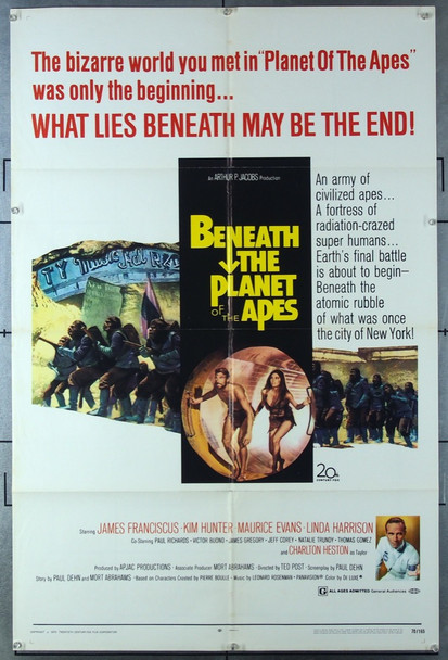 BENEATH THE PLANET OF THE APES (1970) 3149  Charlton Heston  James Franciscus Movie Poster 20th Century Fox Original One-Sheet Poster (27x41)  Folded  Very Fine Condition