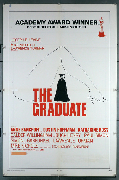 GRADUATE, THE (1967) 29198  Re-release U.S. Poster of 1972 Original U.S. One-Sheet poster. 27x41. This poster is folded and in very fine condition.