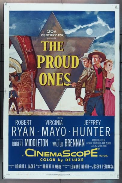 PROUD ONES, THE (1956) 14082  Robert Ryan   Jeffrey Hunter   Virginia Mayo  Movie Poster Original 20th Century-Fox One Sheet Poster (27x41).  Folded.  Fine Plus Condition.