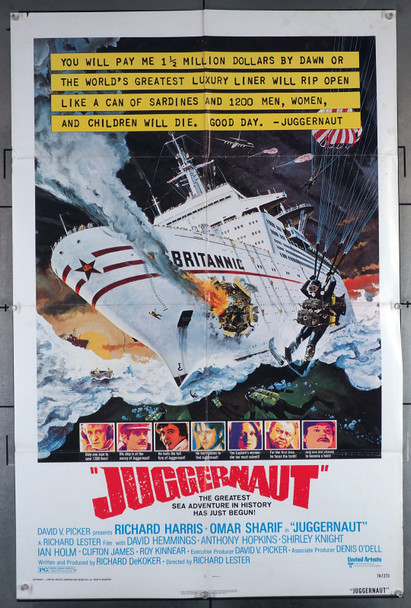 JUGGERNAUT (1974) 2060   RICHARD HARRIS   OMAR SHARIF   ANTHONY HOPKINS  Movie Poster  Art by Robert McCall Original U.S. One-Sheet Poster (27x41)  Folded   Fine Theater-Used Condition