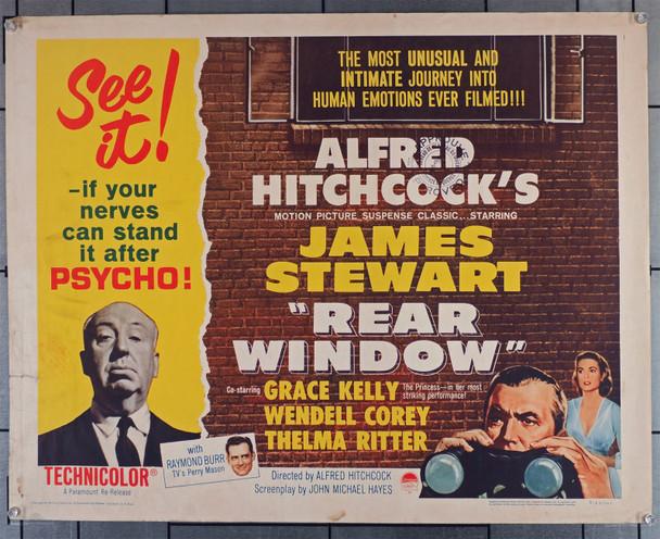 REAR WINDOW (1954) 29384  Movie Poster  Alfred Hitchcock  James Stewart  Grace Kelly  Raymond Burr  Re-release of 1962 Original U.S. Half-Sheet Poster (22x28)  Average Used