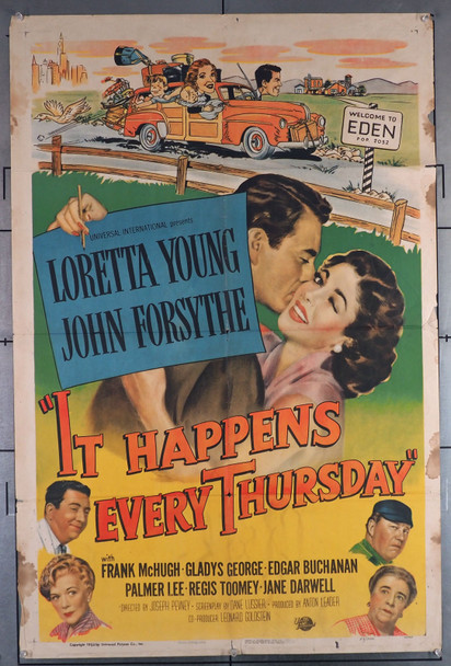 IT HAPPENS EVERY THURSDAY (1953) 11337  Loretta Young  John Forsythe  Movie Poster  Average Used Condition Universal Original One-Sheet Poster  (27x41)  Folded  Good Condition Only  Theater-Used  Average Used