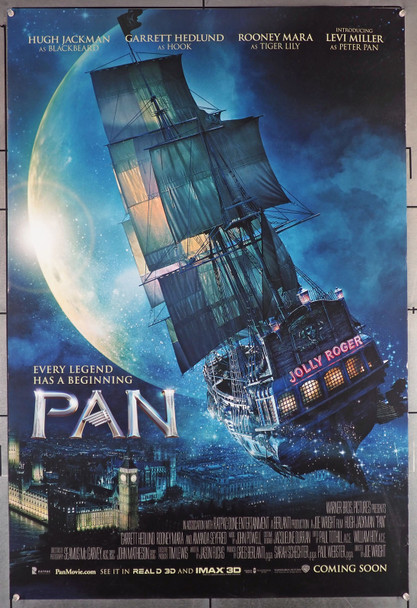PAN (2015) 29389   Hugh Jackman  Levi Miller  Movie Poster   U.S. Advance Poster Original U.S. One-Sheet Poster (27x40)  Double Sided  Theater-Used  Minor Flaws