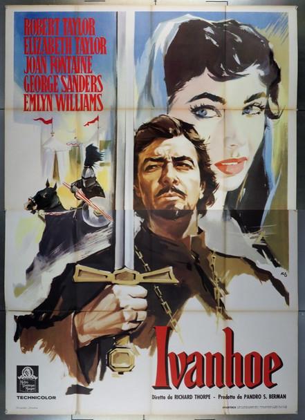 IVANHOE (1952) 27964  Robert Taylor  Elizabeth Taylor Movie Poster  Art by Silvano 'Nano' Campeggi Original Italian 4 Fogli Poster (55x79).  Re-release of 1955  Folded.  Fine Condition.