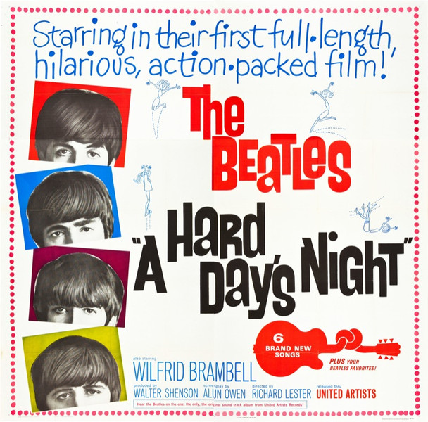 HARD DAY'S NIGHT, A (1964) 21218  The Beatles Movie Poster  Six-Sheet  81x81 Poster  Design by Joseph Caroff Original United Artists Six Sheet Poster (81x81). Folded. Very Fine Minus.