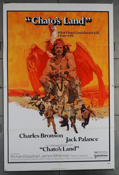 CHATO'S LAND (1972) 10849  Charles Bronson  Richard Basehart  James Whitmore  Movie Poster Original United Artists One Sheet Poster (27x41).  Folded.  Very Fine Condition.