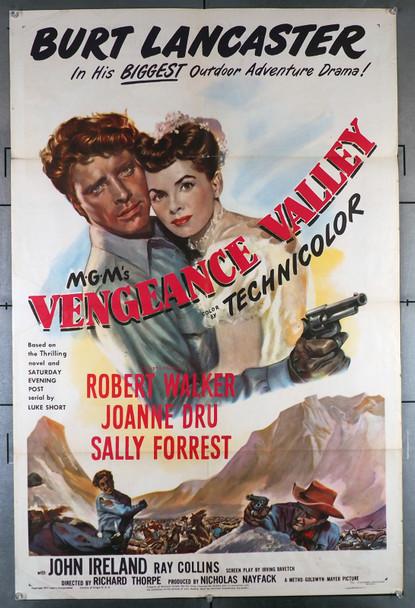 VENGEANCE VALLEY (1950) 6198  Burt Lancaster   Joanne Dru  Movie Poster Original U.S. One-Sheet Poster (27x41) Folded  Very Good Plus Condition  Theater-Used