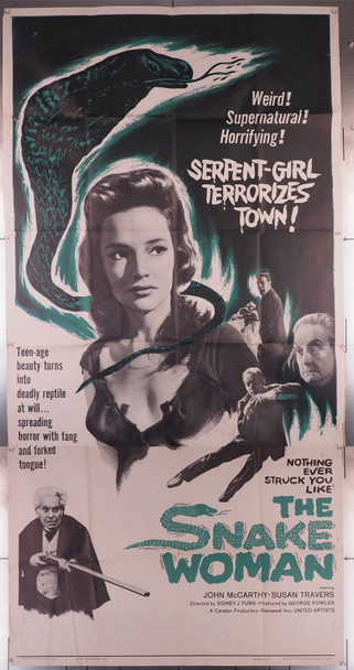 SNAKE WOMAN, THE (1961) 6301  Susan Travers Movie Poster Original U.S. Three-Sheet Poster (41x81) Folded  Average Theater-Used Condition