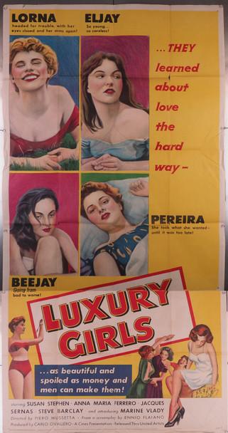LUXURY GIRLS (1953) 6303  Susan Stephens  Anna Maria Ferrero  Rossana Podesta  Movie Poster Original U.S. Three-Sheet Poster (41x81)  Folded  Average Used Condition