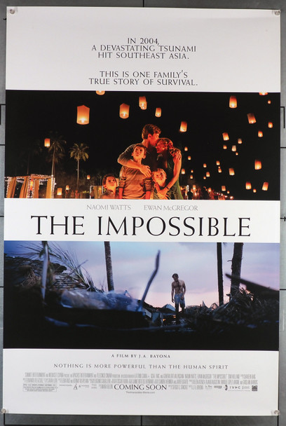 IMPOSSIBLE, THE (2012) 29397   Naomi Watts   Ewan McGregor   Tom Holland   Movie Poster Original U.S. One-Sheet Poster (27x40)  Rolled  Very Fine Condition