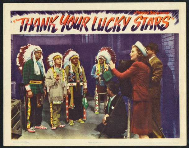 THANK YOUR LUCKY STARS (1943) 25703  Eddie Cantor Joan Leslie and Hollywood Indians Scene Lobby Card Warner Brothers Original Scene Lobby Card (11x14) Very Fine Condition