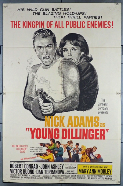 YOUNG DILLINGER (1965) 3818  Nick Adams   Mary Ann Mobley  Movie Poster Original Allied Artists One Sheet Poster (27x41).  Folded.  Very Good Condition.