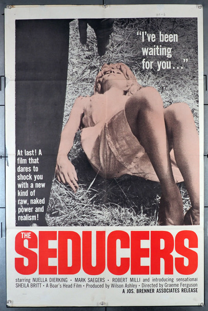 SEDUCERS, THE (1962) 3819   Nuella Dierking  Mark Saegers  Sexploitation Movie Poster Original Joseph Brenner Associates One Sheet Poster (27x41).  Folded.  Very Good Condition.