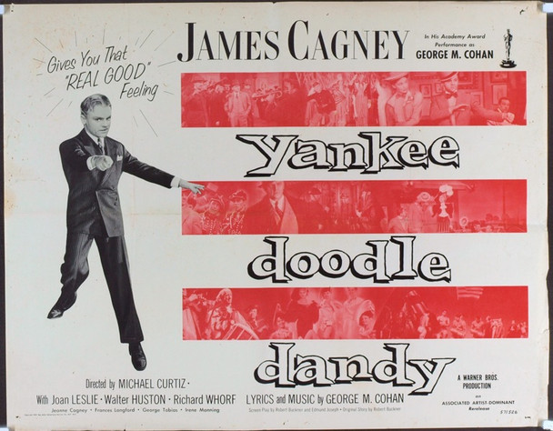 YANKEE DOODLE DANDY (1942) 4882  James Cagney Associated Artists - Dominant Re-release Movie Poster from 1957 Original Dominant Pictures Half Sheet Poster (22x28). 1956 Re-Release. Fair to Good Condition