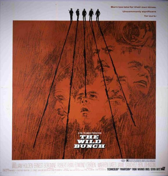 WILD BUNCH, THE (1969) 16474  Six Sheet Movie Poster   William Holden  Robert Ryan  Sam Peckinpah  Art by Howard Terpning Original Warner Brothers Six Sheet Poster (81x81). Folded. Near Mint Condition.