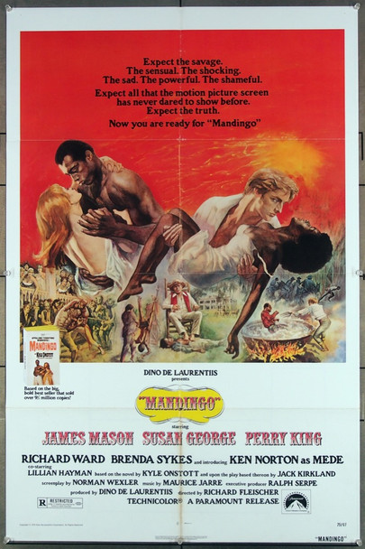MANDINGO (1975) 27249  Directed by Richard Fleischer  James Mason, Susan George, Perry King and Boxer-turned actor Ken Norton. Original Paramount 1975 Release One Sheet Poster (27x41)  Folded  Very Fine Condition