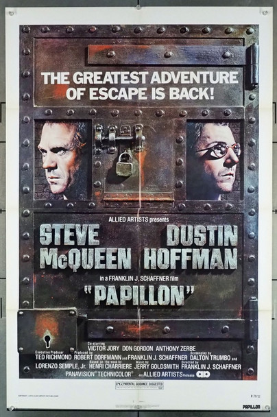 PAPILLON (1974) 2923  Movie Poster  Re-release Poster of 1977  Art by Richard Amsel   Dustin Hoffman   Steve McQueen Original U.S. One-Sheet Poster  (27x41)  Folded  Re-release Poster of 1977