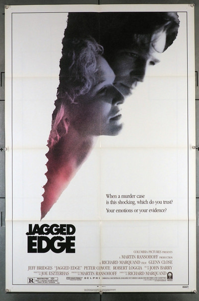 JAGGED EDGE (1985) 2775  Jeff Bridges   Glenn Close   Peter Coyote   Richard Marquand Original U.S. One-Sheet Poster (27x41)  Folded   Very Good Plus Condition