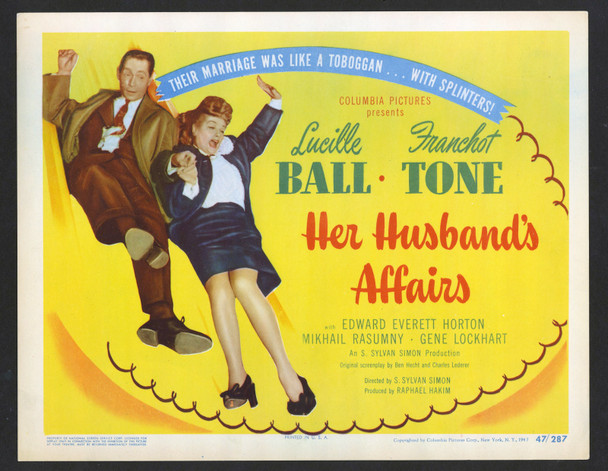 HER HUSBAND'S AFFAIRS (1947) 29356  Lucille Ball  Franchot Tone  Title Card Original U.S. Title Lobby Card (11x14) Very Fine Condition