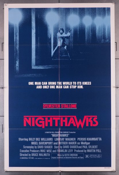 NIGHT HAWKS (1981) 2774   Sylvester Stallone   Rutger Hauer   Movie Poster Original U.S. One-Sheet Poster (27x41)  Folded  Very Fine Condition