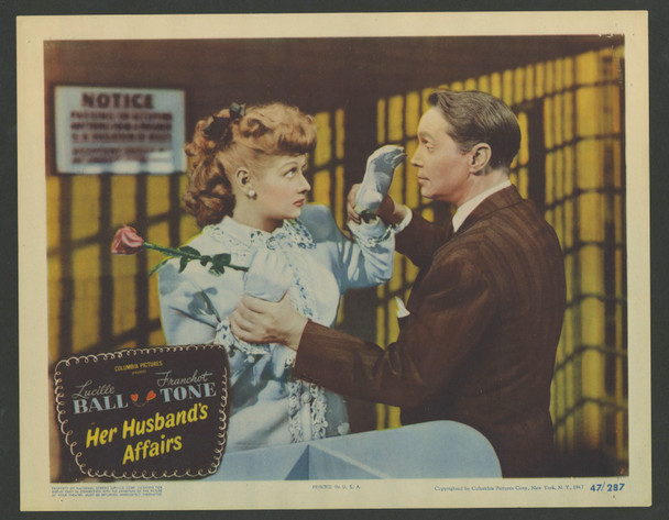 HER HUSBAND'S AFFAIRS (1947) 29357  Lobby Card No 2   Lucille Ball   Franchot Tone Original U.S. Scene Lobby Card  (11x14)  Very Fine Condition