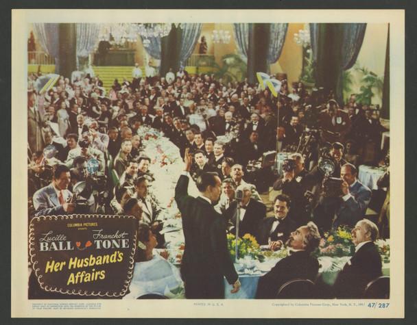 HER HUSBAND'S AFFAIRS (1947) 29360   Franchot Tone   Lucille Ball    Mikhail Rasumny Original U.S. Scene Lobby Card No. 5  (11x14)  Very Fine Condition