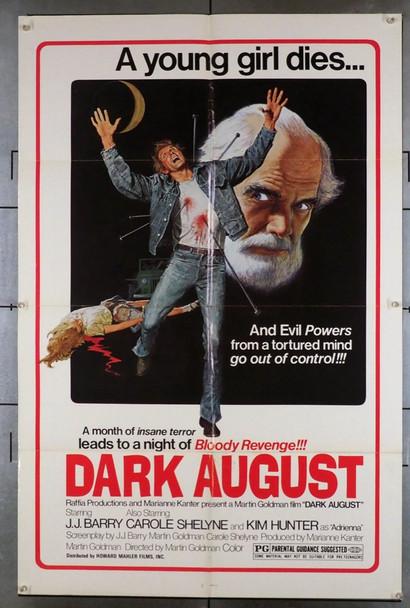 DARK AUGUST (1976) 3792   J.J. Barry   Kim Hunter  Carolyn Barry  Movie Poster Original Howard Mahler Films One Sheet Poster (27x41).  Folded.  Very Fine Condition.