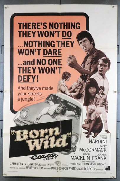 BORN WILD (1968) 3794 (THE YOUNG ANIMALS)   Tom Nardini   Patty McCormack  Joanna Frank Original American International Pictures One Sheet Poster (27x41).  Folded.  Fine Condition.