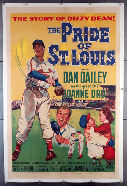 PRIDE OF ST. LOUIS, THE (1952) 20806  Dan Dailey as Dizzy Dean  Original U.S. Poster  Beautifully Linen-Backed 20th Century Fox One Sheet Poster.  (27x41)  Linen backed.  Restored to Fine Plus Condition