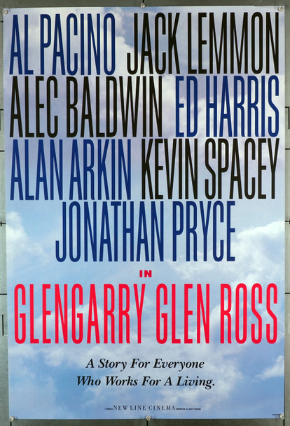 GLENNGARRY GLEN ROSS (1992) 20072  U.S. Teaser or Advance Poster   Rolled  Very Fine Condition Original U.S. Teaser or Advance One-Sheet  (27x41)  Rolled  Very Fine Condition