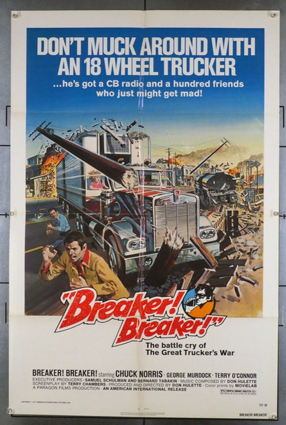 BREAKER! BREAKER! (1977) 3800  Chuck Norris Movie Poster   10-4 Big Daddy !! Original American International Pictures One Sheet Poster (27x41).  Folded.  Fine Condition.