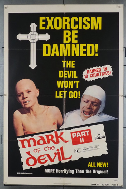 MARK OF THE DEVIL II  (1973) 3801  Adrian Hoven   Anton Diffring  Movie Poster Original Hallmark Releasing One Sheet Poster (27x41).  Folded.  Fine Condition.