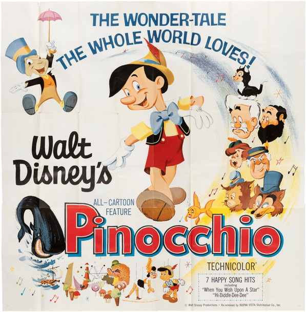 PINOCCHIO (1940) 29400  Six Sheet Poster   Re-release of 1962  Large Format Disney Poster Original U.S. Six Sheet Poster (84x84)  Re-release of 1962  Very Fine Condition