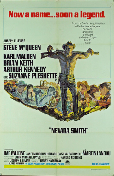 NEVADA SMITH (1966) 9178  Movie Poster   Steve McQueen Original Paramount Pictures One Sheet Poster (27x41). Folded. Fine Plus Condition.