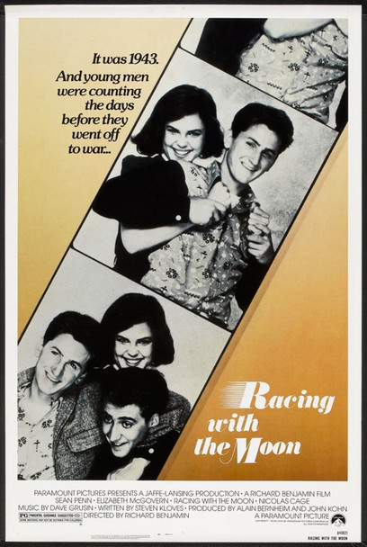 RACING WITH THE MOON (1984) 78  Movie Poster   SEAN PENN   ELIZABETH McGOVERN   NICHOLAS CAGE Paramount One Sheet Poster  27x41  Rolled  Fine Plus