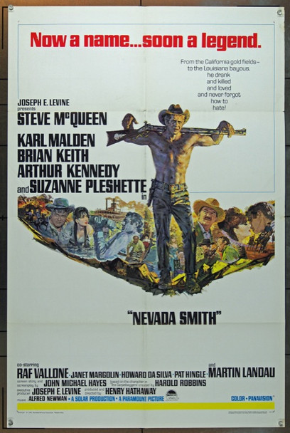 NEVADA SMITH (1966) 5053  Movie Poster  Steve McQueen   Paramount Pictures One Sheet Poster  27x41  Folded  Fine Condition