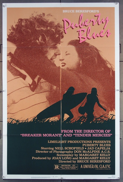 PUBERTY BLUES (1981) 2891  Movie Poster  Bruce Beresford, Director   Nell Schofield   Jed Capelja   Kirrily Nolan Limelight Productions Original One-Sheet Poster  (27x41) Folded  Very Fine