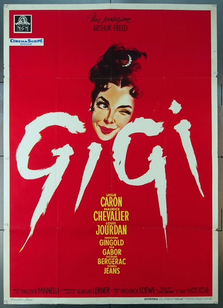 GIGI (1958) 24911  Italian 39x55 Movie Poster  Leslie Caron  Louis Jourdan  Vincente Minnelli  Best Poster!! MGM Italian 39x55   Folded.  Fine Plus Condition
