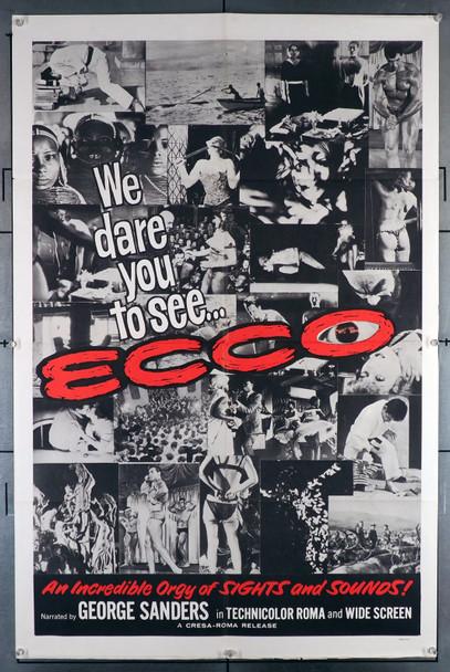 ECCO (1963) 4145  (IL MONDE DI NOTTE NUMERO 3)  Exploitation Travelogue Movie Poster Julia Films One Sheet Poster (27x41).   Folded.   Very Fine.