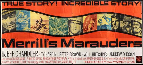 MERRILL'S MARAUDERS (1961) 14253  Exterior Billboard  24-sheet   9x24 feet Warner Brothers Original U.S. 24 sheet  Exterior Billboard  9x20 feet  Folded  Good Plus Condition