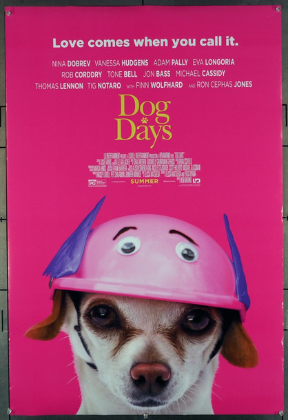DOG DAYS (2018) 27900  Movie Poster   Finn Wolfhard   Rob Corddry Original LD Entertainment Advance (Pink) One Sheet Poster (27x40).  Double-Sided.  Rolled.  Fine to Very Fine.