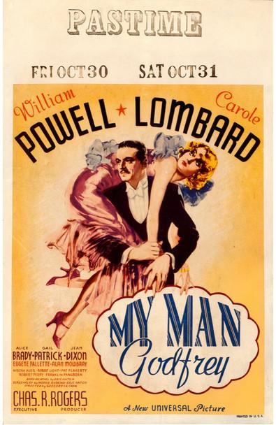 MY MAN GODFREY (1936) 28165  Movie Poster   William Powell   Carole Lombard   Gregory La Cava Universal Pictures Original U.S. Window Card (14x22) Very Fine Condition