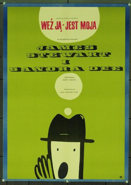 TAKE HER, SHE'S MINE (1963) 1137  Polish Film Poster  James Stewart   Sandra Dee  Art by Jacek Neugebaur Original Polish Poster (26x38). Art by Jacek Neugebaur.  Unfolded.  Very Fine Condition.